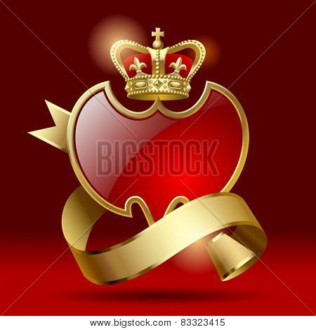 Vector retro artistic badge in the form of a shields with gold ribbon and crown against a dark red background