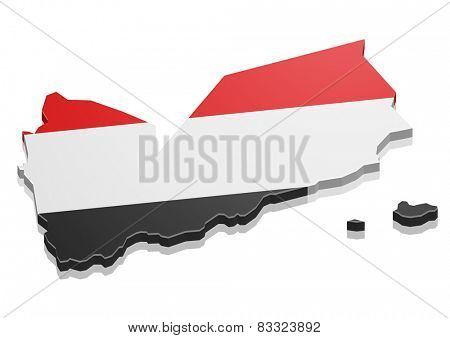 detailed illustration of a map of Yemen with flag, eps10 vector