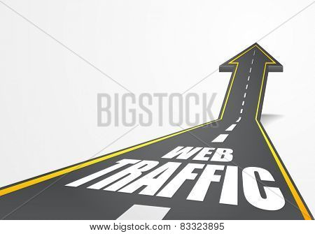 detailed illustration of a highway road going up as an arrow with web traffic text, eps10 vector