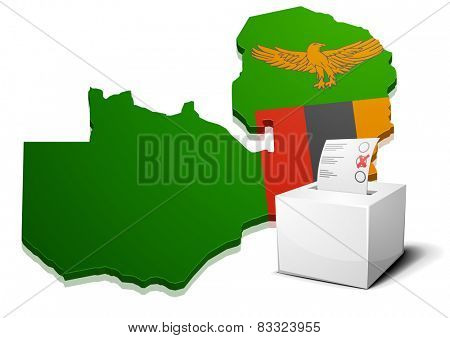 detailed illustration of a ballotbox in front of a map of Zambia, eps10 vector