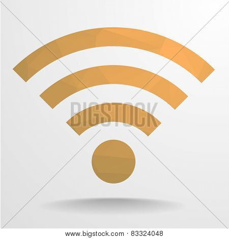 detailed illustration of a polygonal wifi signal sign, eps10 vector
