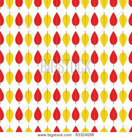 Seamless Pattern With Red And Yellow Leaves On A White Background