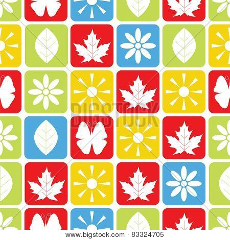 Abstract Seamless Pattern With Butterflies And Plants