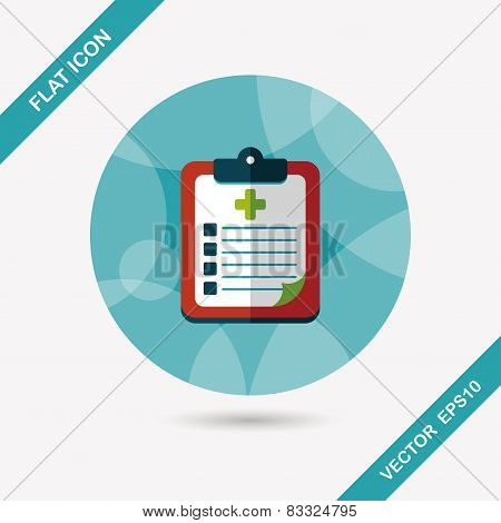 Clinical Record Flat Icon With Long Shadow