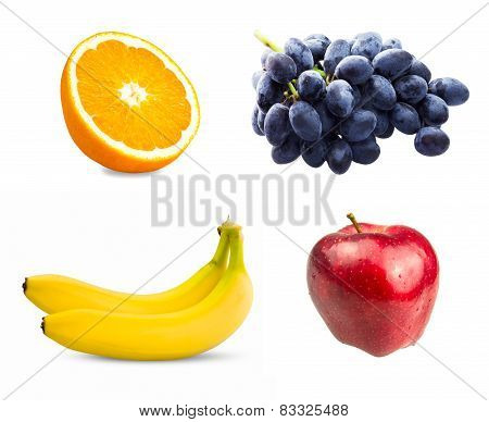 Fresh sliced orange fruit, Branch of blue grapes, Red apples and Two bananas isolated on white backg