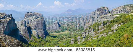 Monastery on a rocky mountain in Meteora Greece
