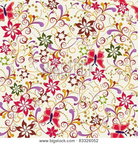 Seamless Pattern Butterfly And Flower