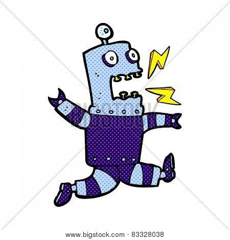 retro comic book style cartoon terrified robot