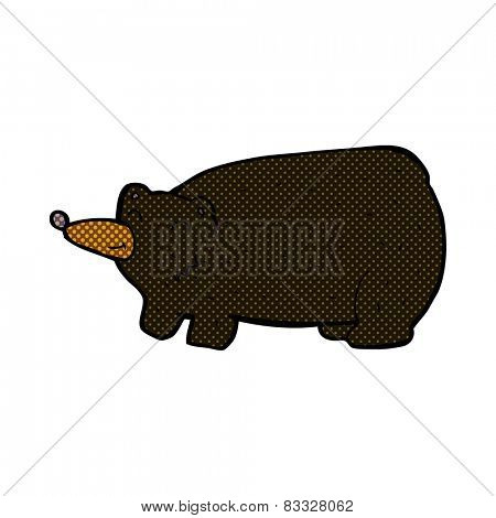 funny retro comic book style cartoon black bear