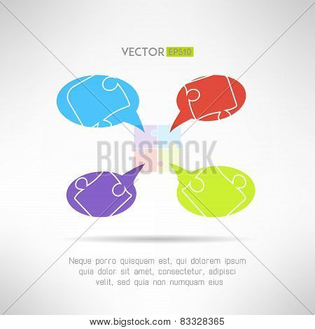 Puzzle chat comunication template for infographics. Teamwork concept. Vector illustration