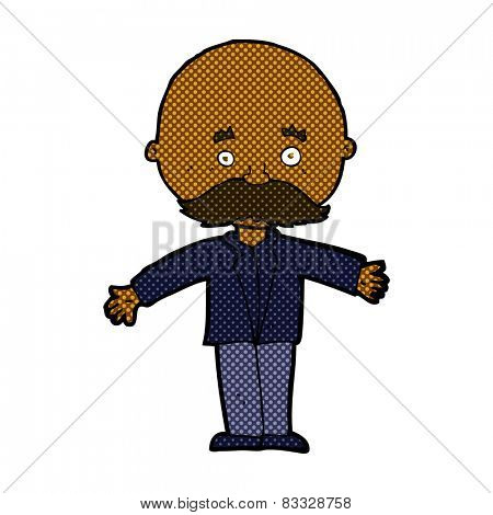 retro comic book style cartoon bald man with open arms
