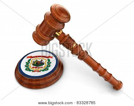 Wooden Mallet and flag Of West Virginia (clipping path included)