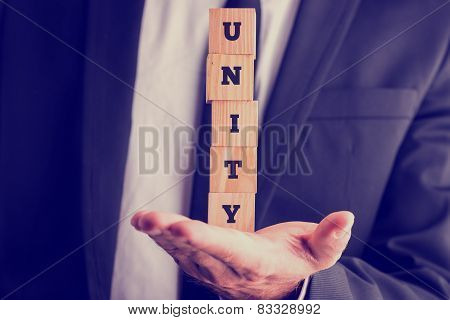 Five Wooden Cubes Spelling The Wor Unity