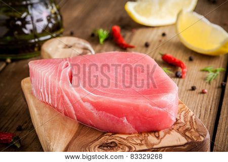 Raw Tuna Fillet With Lemon And Olive Oil