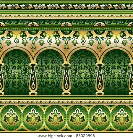 Silk Seamless  Green Ornament