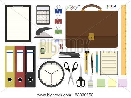 Office Supplies In Flat Design