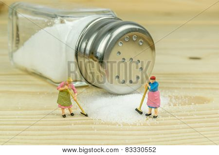 Salt Shaker and Spilled Salt