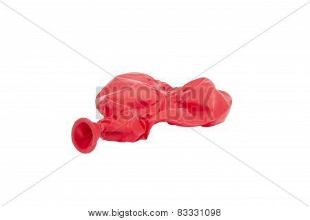 Deflated Red Heart Shaped Balloon Isolated On White