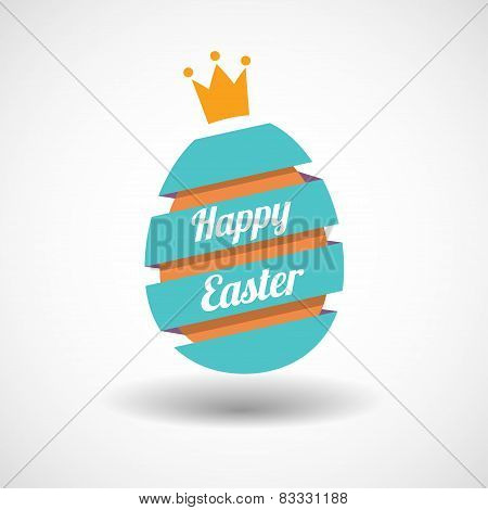 Happy Easter Egg ribbon and golden egg