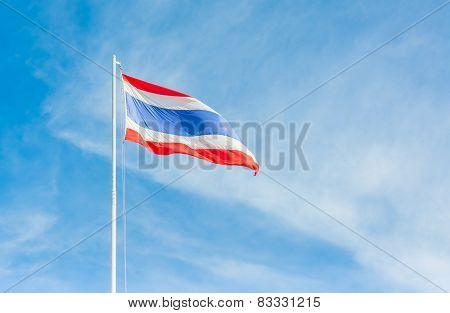 Flag Of Thailand With Clear Blue Sky