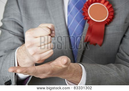 Close Up Of Politician Making Passionate Speech