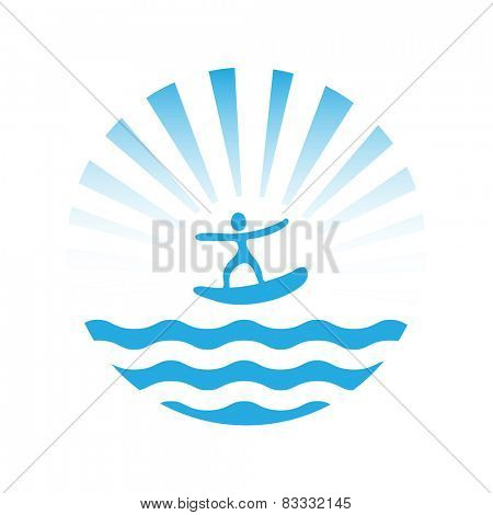 wakeboard or surf, water sport,  vector icon