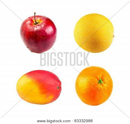 Fresh Red apple,  Mango fruit, Ripe melon and Juice orange fruit isolated on white background
