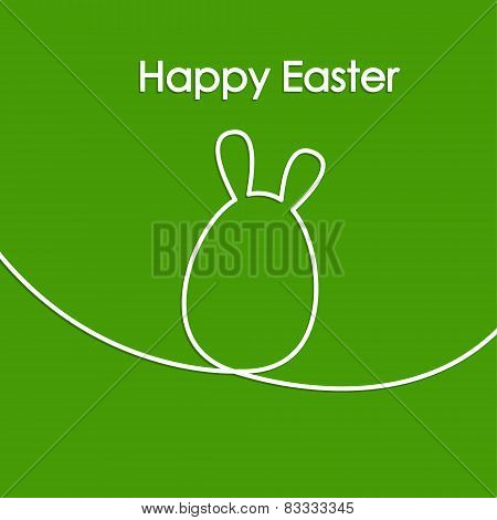 Easter Card With Line Hare Or Rabbit, Egg Shape, Modern Vector