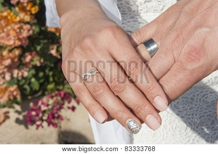 Hands Of Newly Married Couple With Rings