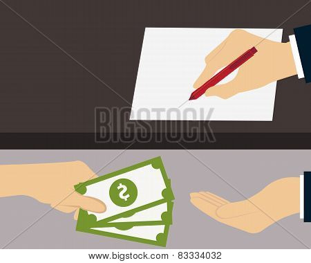 Bribe. Man giving money to the person who signs the document. Vector illustration