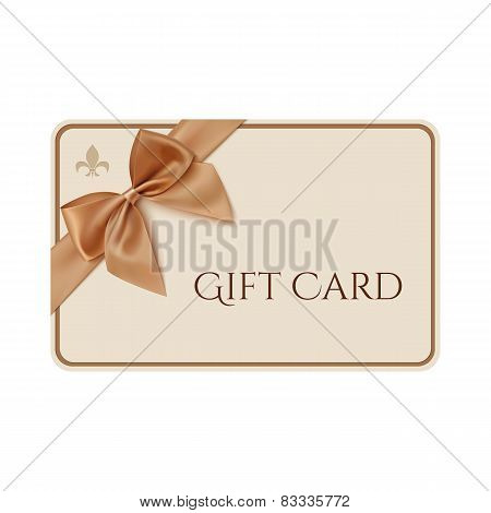 Gift card template with golden ribbon and a bow.