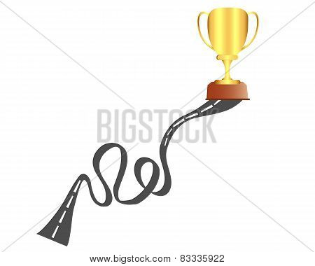 Road to success. Way and Gold Cup. Vector illustration