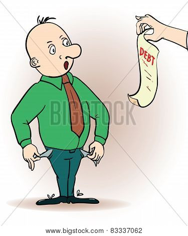 Vector illustration of a cartoon character. man hassled by creditors holding bills, signs, payment d