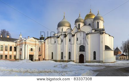 oldest in Russia Cathedral of St. Sophia. Veliky Novgorod at sun