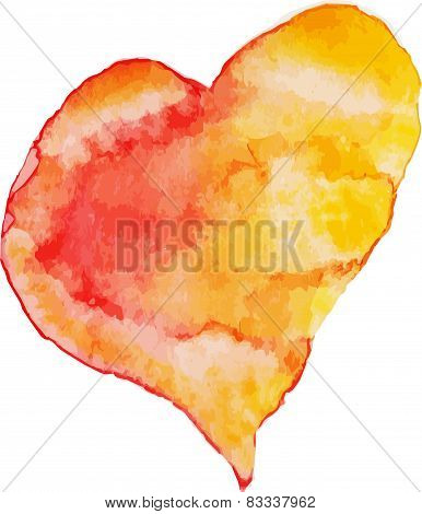 Red, orange e yellow watercolor heart, vector illustration