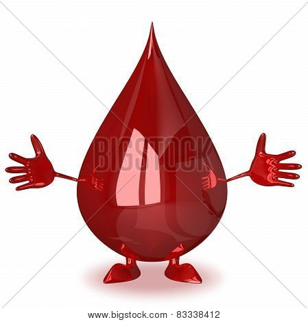 Welcoming Blood Drop Character