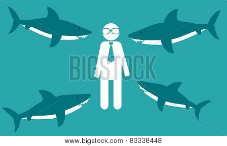New employee in the office. The man with the sharks. Business concept