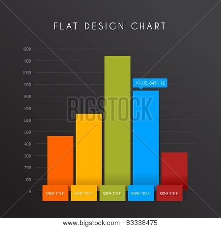 Vector flat design statistics vertical column graphs - dark version