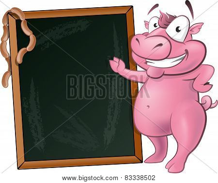 Cute Waving Pig Character With Chalk Board.