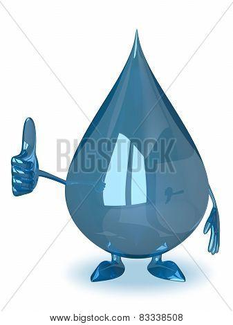 Water Drop Giving Thumb Up