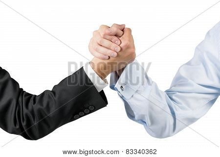 Businessmen Engaged In Arm Wrestling