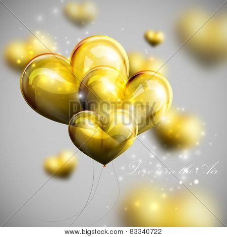 holiday illustration of bunch of balloon hearts