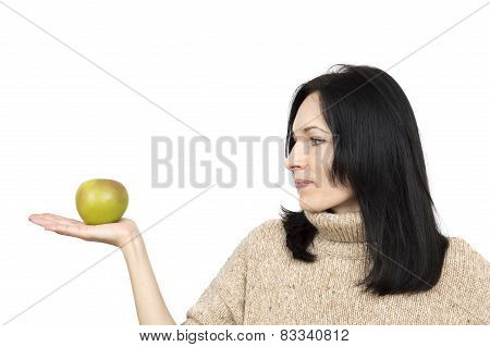 Woman Wearing Beige Sweater Holding Apple Isolated Over White
