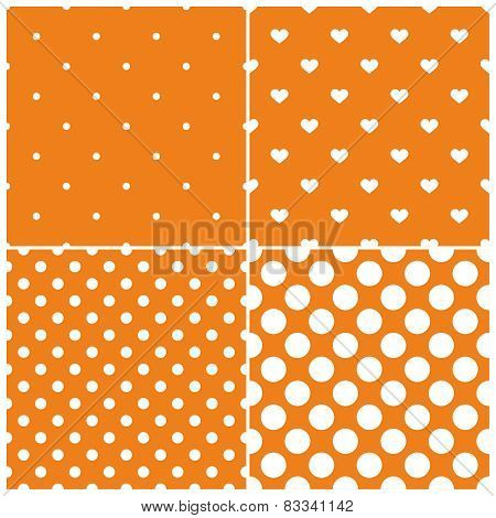 Orange tile vector pattern set with white polka dots and hearts on pastel background