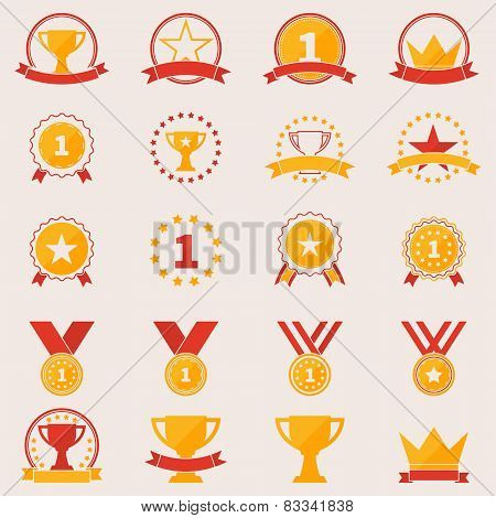 Set of awards and victory icons