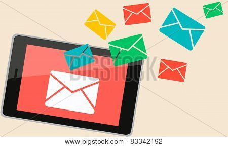 On the tablet was sent a new message. Envelope symbol. Vector illustration