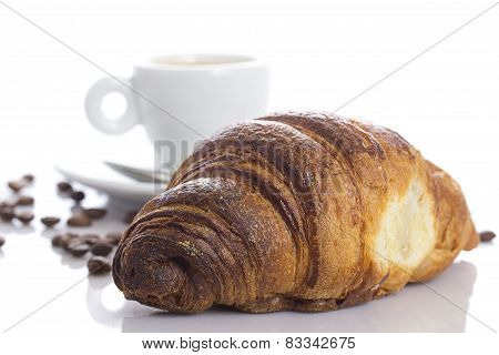 Delicious Continental Breakfast Of Coffee And Croissants Isolated On White Background