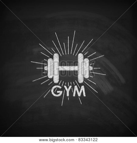 vector chalk  illustration of a dumbbell with burst light rays