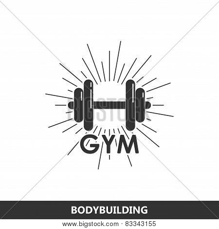 illustration of a dumbbell with burst light rays. fitness logo
