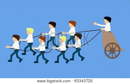 Team leader. People dragging the chariot with the boss. Business concept